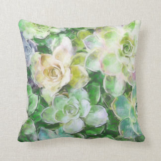 Succulent Garden Painting by Cindy Bendel Throw Pillow