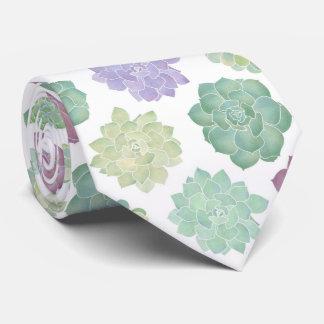 Succulent Garden Pattern Neck Tie