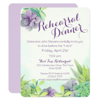 Succulent Garden Rehearsal Dinner Card