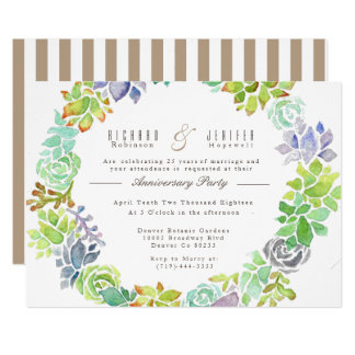 Succulent Garden | Watercolor Anniversary Party Card