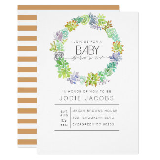 Succulent Garden | Watercolor Baby Shower Card