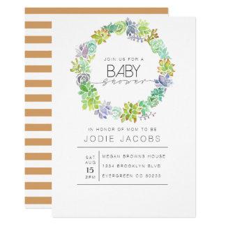Succulent Garden   Watercolor Baby Shower Card