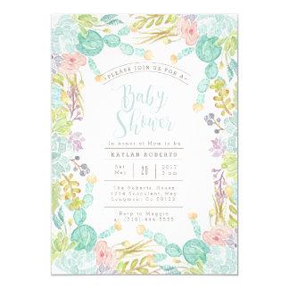 Succulent Garden Watercolor   Baby Shower Invite