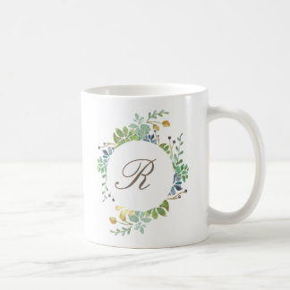 Succulent Garden Watercolor | Initial Coffee Mug