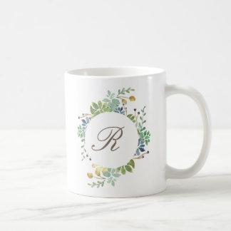 Succulent Garden Watercolor | Initial Coffee Mug