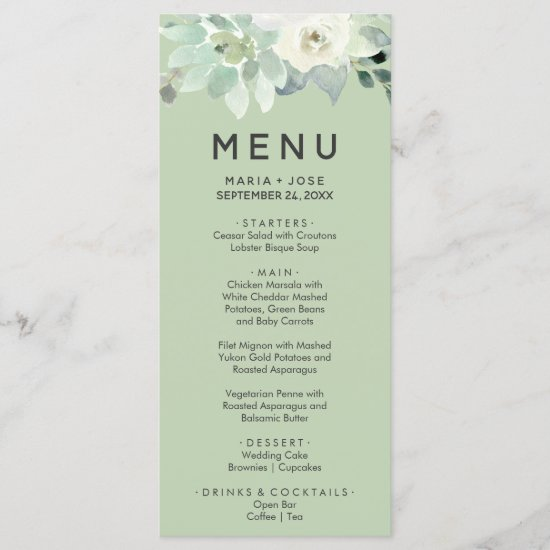 Succulent Greenery Dinner Menu Card