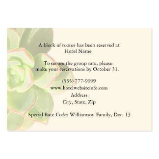 Succulent Hotel Accommodation Enclosure Cards Business Cards