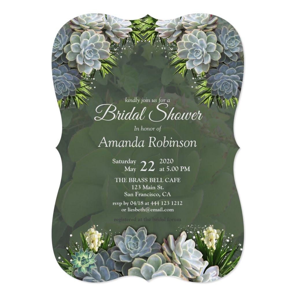 Succulent Hues of Pale Blues Bridal Shower Invitation
