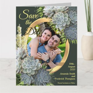 Succulent Hues of Pale Blues Save the Dates Card
