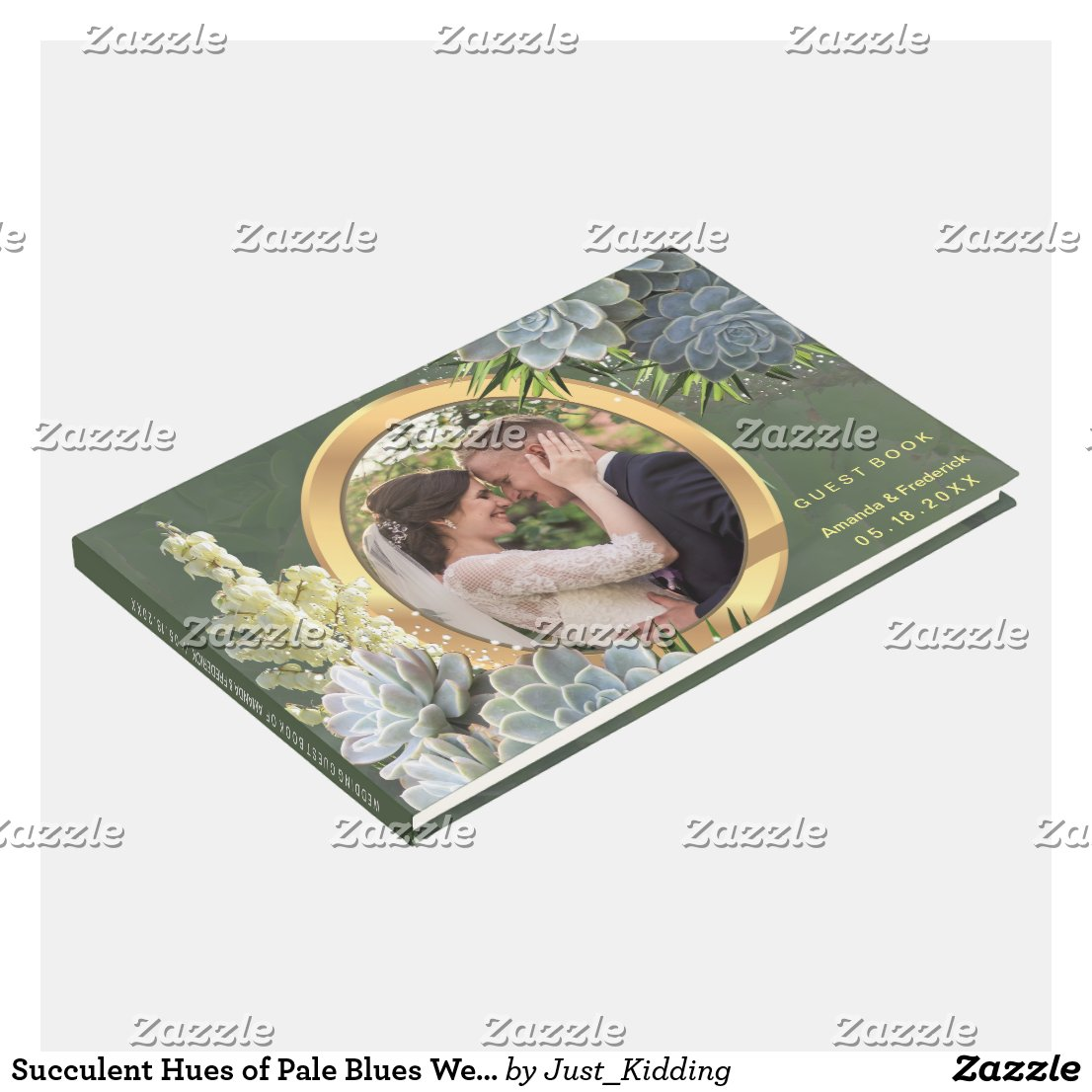 Succulent Hues of Pale Blues Wedding Guest Book