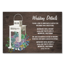 Succulent Lantern Wedding Reception Insert Cards