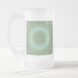 Succulent Mandala Frosted Glass Beer Mug