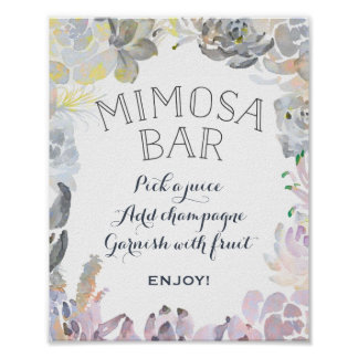 Succulent Mimosa Bar Sign Poster