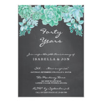 Succulent on Chalkboard Wedding Anniversary Party Card