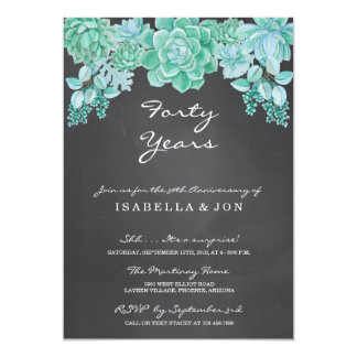Succulent on Chalkboard Wedding Anniversary Party Invitation