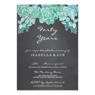 Succulent on Chalkboard Wedding Anniversary Party Invitation