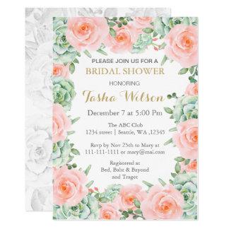 succulent peach roses Bridal Shower Invite