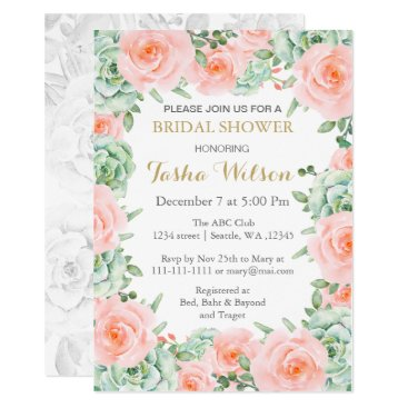 succulent peach roses Bridal Shower Invite