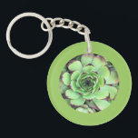 "Succulent Photo Leaf Green Border Keychain<br><div class=""desc"">Add a round leaf green border to your photos or one photo. The sample photo on one side is the botanical pattern of a succulent,  and on the other is a group of succulents in a garden.</div>"
