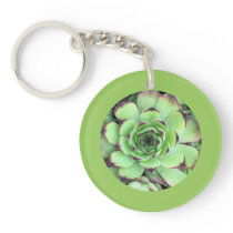 Succulent Photo Leaf Green Border Keychain