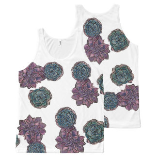 Succulent Plant All Over Printed Tank