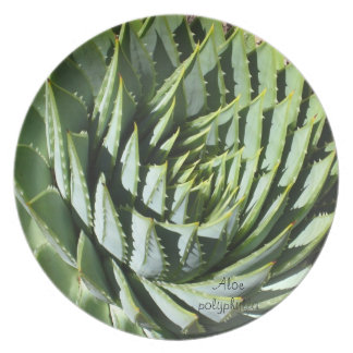 Succulent plant dinner plate: Aloe polyphylla Melamine Plate