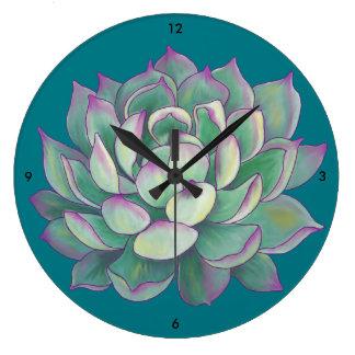 Succulent plant large clock