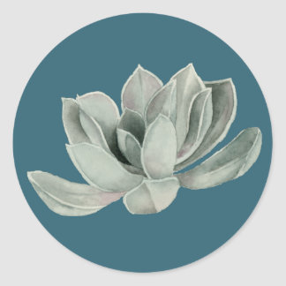 Succulent Plant Watercolor Painting Classic Round Sticker