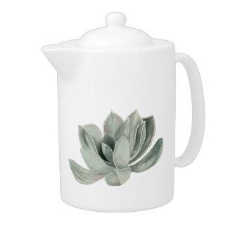 Succulent Plant Watercolor Painting Teapot