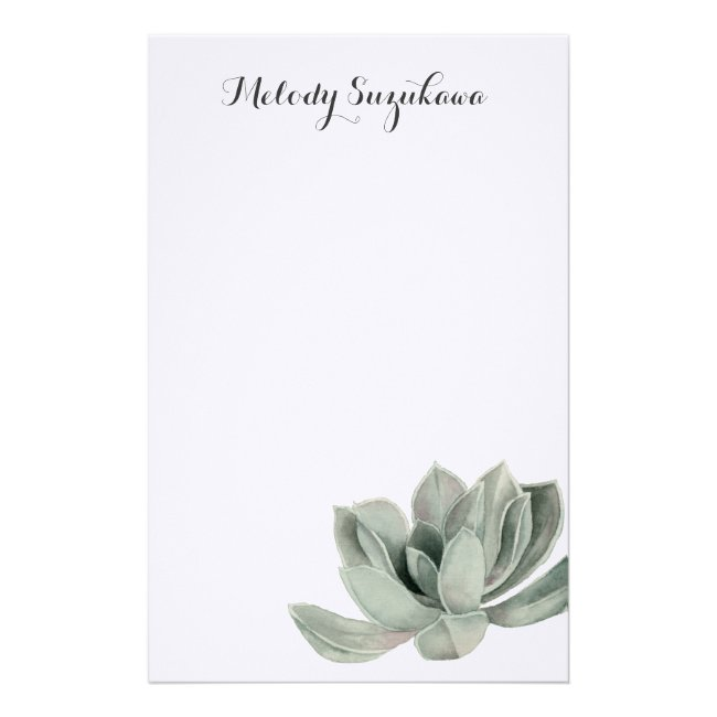 Succulent Plant Watercolor Painting with Name