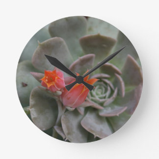 Succulent plant with orange flower round wall clock