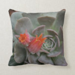 Succulent plant with orange flower throw pillows