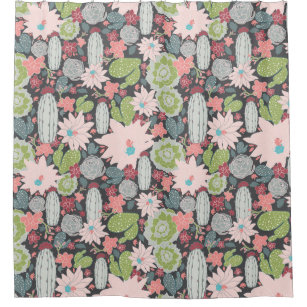 Succulent Plants And Cactus In Green Pink Pattern Shower Curtain