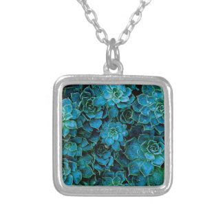 Succulent Plants Silver Plated Necklace