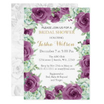 succulent plum roses Bridal Shower Invite