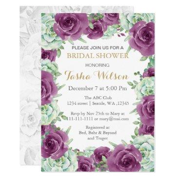 succulent plum roses Bridal Shower Invite