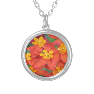 Succulent Red and Yellow Flower Echeveria Silver Plated Necklace