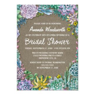 Succulent Rustic Burlap Bridal Shower Invitations