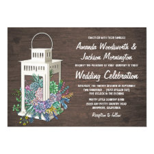 Succulent Rustic Wood Lantern Wedding Invitations