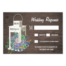 Succulent Rustic Wood Lantern Wedding RSVP Cards