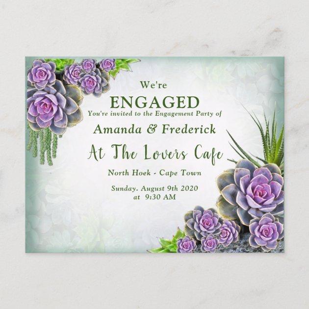 Succulent Sea Green Violet Bouquet Engagement Invitation Postcard Zazzle Com