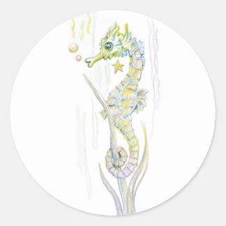 Succulent Seahorse Round Sticker