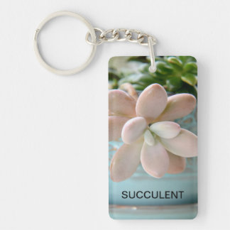 Succulent Sedum Pink Jelly Bean Plant Rectangle Acrylic Keychains
