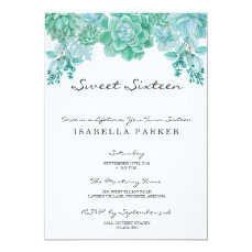 Succulent Sweet Sixteen Party Invitation