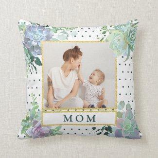 Succulent Theme Mom Photo Pillow