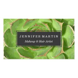 Succulent verde del cactus con falsas extremidades tarjetas de visita