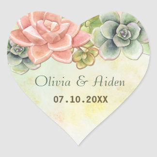 Succulent Watercolor Floral Heart Sticker