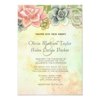 Succulent Watercolor Floral Wedding - option 2 Card