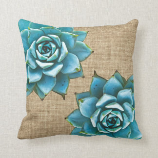 Succulent Watercolor on Tan Burlap Throw Pillow