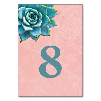Succulent Watercolor Pink Lace Card